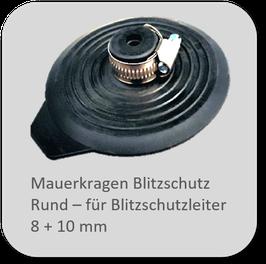 Mauerkragen / Blitzschutz / Rund oder Flach mit Montageset komplett mit 2 passenden Edelstahl-Spannbändern