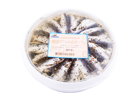 Sardines en aceite de basilicum.  Ca. 1 kg.