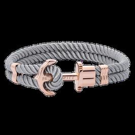 Ankerarmband Phrep Roségold Nylon Grau