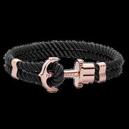 Ankerarmband Phrep Roségold Nylon Schwarz