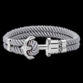 Ankerarmband Phrep Silber Nylon Grau