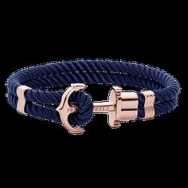 Ankerarmband Phrep Roségold Nylon Marineblau