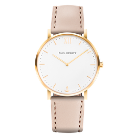 Uhr Sailor White Sand Gold Leder Hazelnut