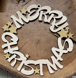 Houten kerstkrans Merry Christmas