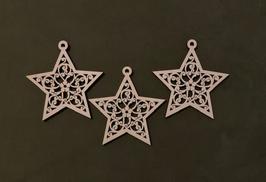 Houten uitgesneden kerststerren per set 3 stuks