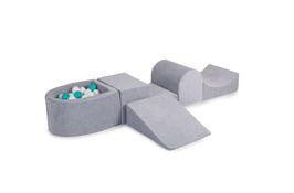MeowBaby® Schaumspielset mit Mini-Bällebad - 100 Bälle, hellgrau