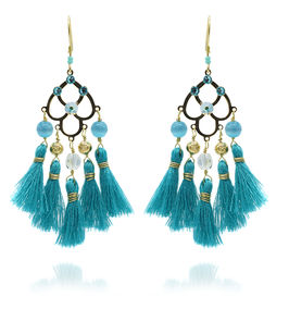 Boucles d'oreilles Pampa Turquoise Or