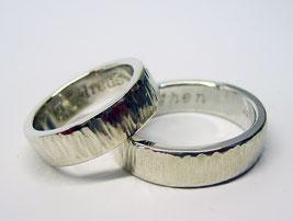 Strukturierte, günstige, Partnerringe aus Silber