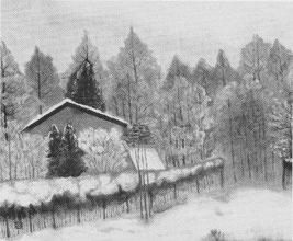 「冬のガーデン」 水墨画 F20号