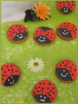 Tutoriel décoration biscuits coccinelles avec glaçage royal, cécile cc, chic choc cake, boutique en ligne cake design et pâtisserie.