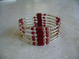 bijou magnétique avec aimants et perles synthétiques rouges