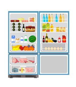 Grafik eines geöffneten, gut gefüllten, Kühlschrankes