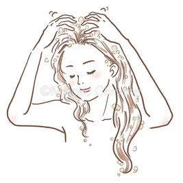 シャンプーをしている女性のイラスト