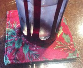 切子のグラスと手作りのコースター