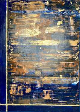 acrylics on canvas - brown, blue, orange, gold