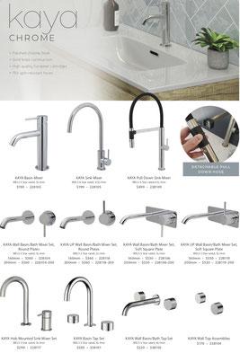 Fienza Kaya Range tapware shower accessories