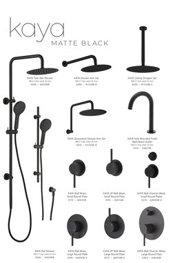 Fienza Kaya Range matt black tapware shower accessories