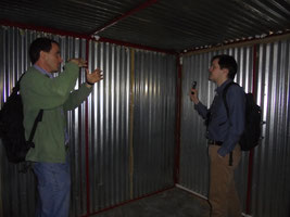 Richard Walls and David Rush assess the test shack at Breede Valley Fire Servie