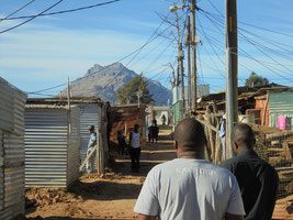 A street view of the Kayamandi Settlement outside of Stellenbosch