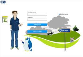 Startseite des DW-Sprachkurses mit Login, Harry und Pinguin