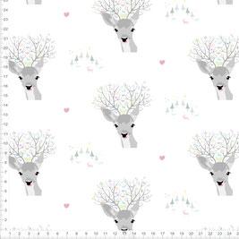 Stoff für Mädchen und Kinderzimmer mit Rehkopf auf Weiß zum Nähen - andere Farben möglich