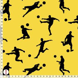 Bio-Stoff für Jungs und Kinderzimmer Fußball Schwarz auf Gelb aus Bio-Baumwolle - alle Farben möglich