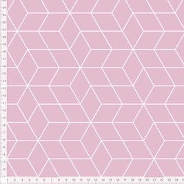 Bio-Stoff mit geometrischem Muster im skandinavischen Design in Altrosa zum Nähen