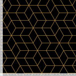 Stoff mit geometrischem Muster im skandinavischen Design in Schwarz Gold zum Nähen