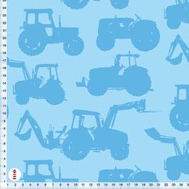 Bio-Baumwolle Bio-Stoff Junge mit Traktoren in Blau zum Nähen - alle Farben möglich
