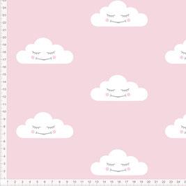 Stoff für Babys und Mädchen mit Wolken in Altrosa zum Nähen