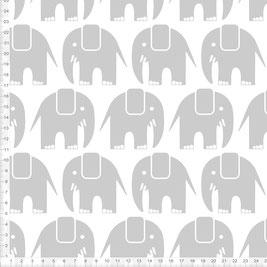Bio-Stoff mit Elefanten in Grau auf Weiß zum Nähen für Babys und Kinder