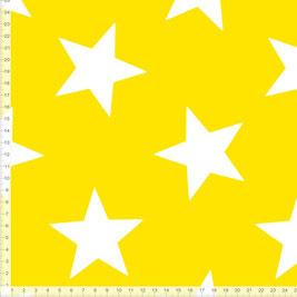 Stoff für Kinder und Babys mit großen Sternen in Gelb zum Nähen