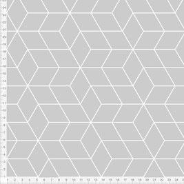 Bio-Stoff mit geometrischem Muster im skandinavischen Design in Grau zum Nähen