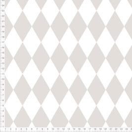 Bio-Stoff mit Rautenmuster in Graubraun und Weiß zum Nähen - andere Farben möglich
