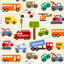 Bio-Stoff für Jungs und Kinderzimmer mit Autos in Beige zum Nähen