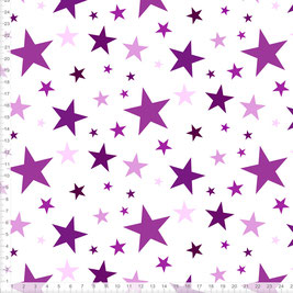 Bio-Stoff für Mädchen und Kinder mit Sternen in Lila und Weiß zum Nähen - andere Farben möglich