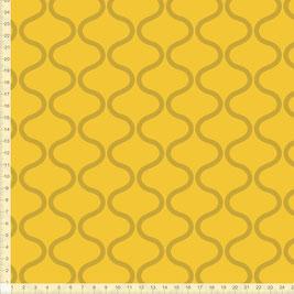 Bio-Stoff mit geometrischem Muster in Senfgelb zum Nähen