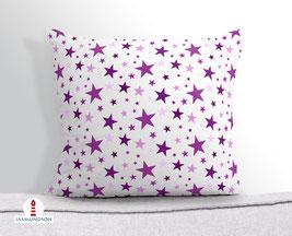 Kissen für Mädchen und Babys mit Sternen in Lila aus Baumwollstoff - andere Farben möglich