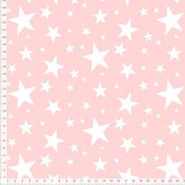 Stoff für Mädchen Babys und Kinderzimmer mit weißen Sternen auf Altrosa aus Bio-Baumwolle zum Nähen - andere Farben möglich