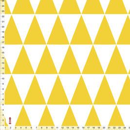 Bio-Kinderzimmer Stoff mit gelb-weißen Dreiecken aus Baumwollstoff - alle Farben möglich