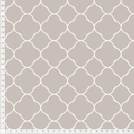 Stoff mit marokkanischem Muster in Taupe zum Nähen