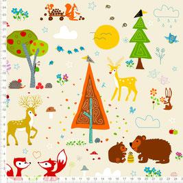 Bio-Stoff für Kinder und Babys mit Waldtieren in Beige zum Nähen