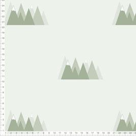 Stoff für Kinderzimmer und Babyzimmer mit Bergen in Salbeigrün zum Nähen