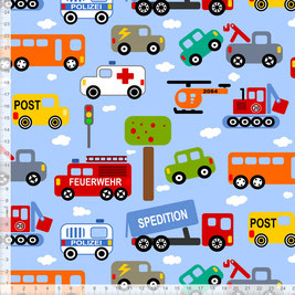 Bio-Stoff für Jungs und Kinderzimmer mit Autos in Hellblau zum Nähen