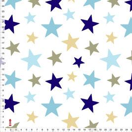 Bio-Stoff für Kinderzimmer und Babys mit Sternen in Blau und Beige zum Nähen