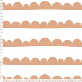Bio-Stoff mit Halbkreisen Muster in Terrakotta zum Nähen
