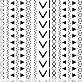 Stoff mit skandinavischem Muster in Schwarz Weiß zum Nähen