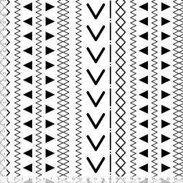 Bio-Stoff mit skandinavischem Muster in Schwarz Weiß zum Nähen