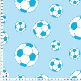 Bio-Stoff für Jungs und Kinderzimmer Fußball in Blau aus Bio-Baumwolle - alle Farben möglich