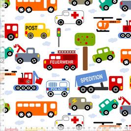 Bio-Stoff für Jungs und Kinderzimmer mit Autos Feuerwehr und Polizei zum Nähen